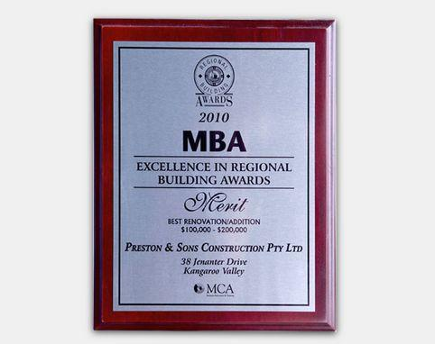 MBA 2010 - Excellence in Regional Building Awards