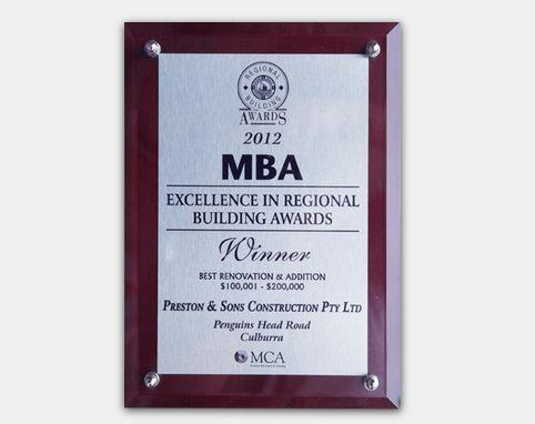 MBA 2012 - Excellence in Regional Building Awards