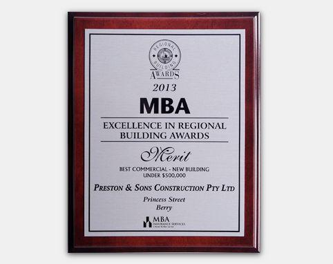 MBA 2013 - Excellence in Regional Building Awards