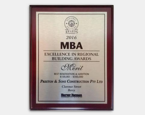 MBA 2016 - Excellence in Regional Building Awards